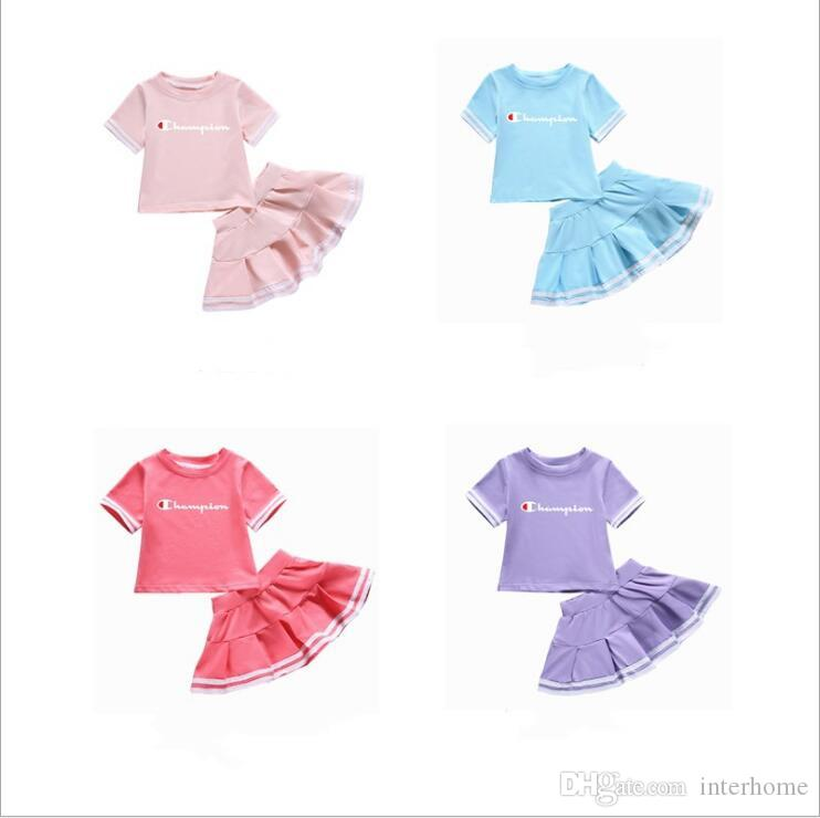 Champ Baby Girls Clothes Kids Summer Suits Toddle T Shirt Knitted Skirts Clothing Sets Printed Short Sleeve Tops Mini Dresses Outfits B5578