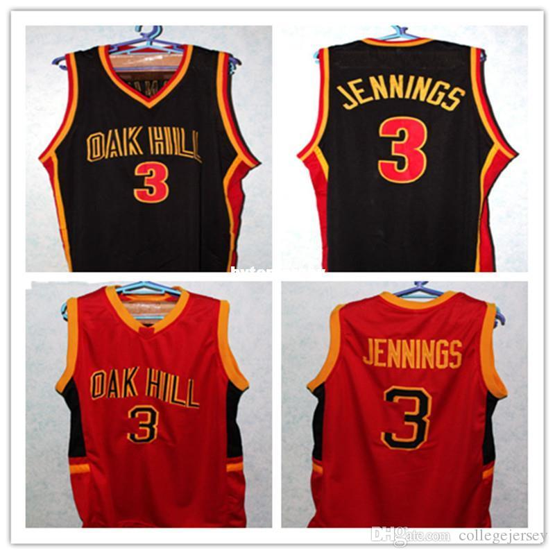 Barato BRANDON JENNINGS # 3 OAK HILL HIGH SCHOOL JÉRSEI PRETO Personalize qualquer número de número e nome do jogador Retro Top Bordado Stitc NCAA