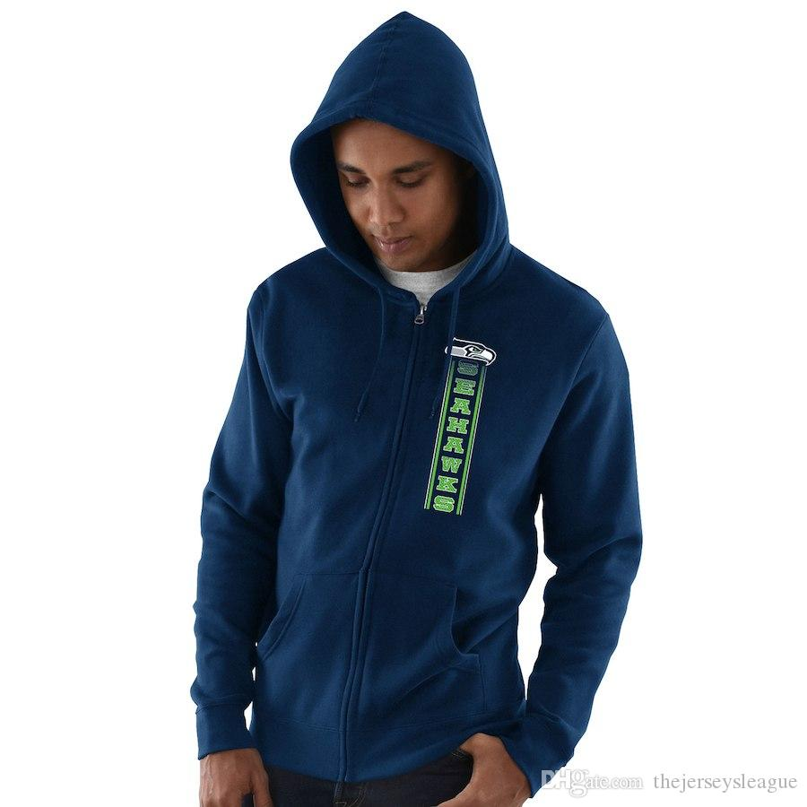 sports shoes bfe01 dd75b 2019 Men Seattle Sweatshirt Seahawks Salute to Service Sideline Therma  Performance Navy Blue Hyper Stack Full-Zip Hoodie