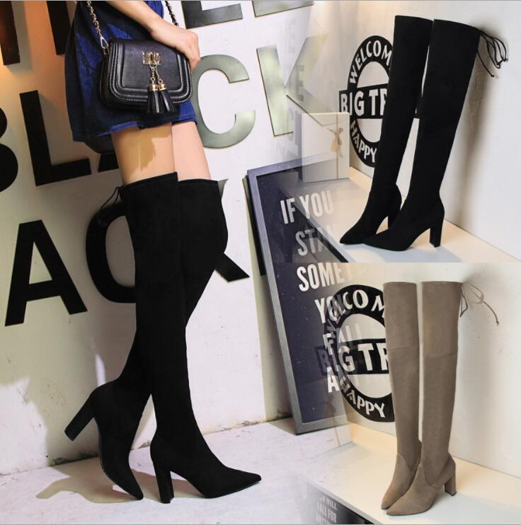 Hot Sale-Women Faux Suede Thigh High Boots Fashion Over the Knee Boot Stretch Flock Sexy Overknee High Heels Woman Shoes Black Red Gray