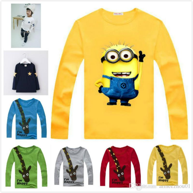 bf877b6c8 2019 2019 New Spring Kids T Shirt Minions Giraffe Baby Boys Clothes Girl  Long Sleeve T Shirts Design Children Costume Tops Cotton Cartoon Tees From  ...