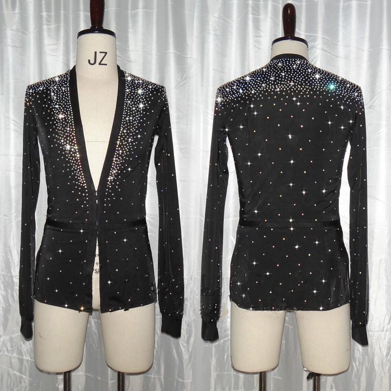 purchase cheap 5714d 50928 Strass lucido Uomo Balli latino-americani Top Camicie Camicia da ballo con  scollo av nera Sala da ballo Abiti da ballo latino Abbigliamento da ...