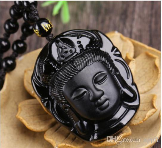 new Buddha Pendant Natural obsidian Vintage Necklace Black Buddha Head Pendant For women&men Jade Jewelry