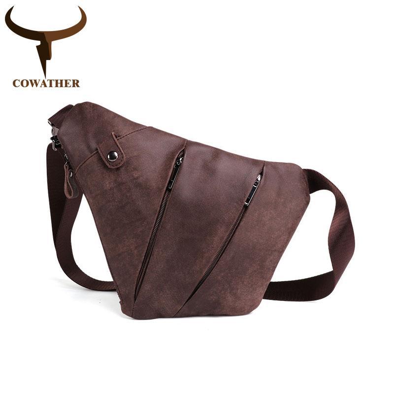 fb30db2c3d COWATHER Top Cow Genuine Leather Men s Crossbody Bags Men Chest Bag ...