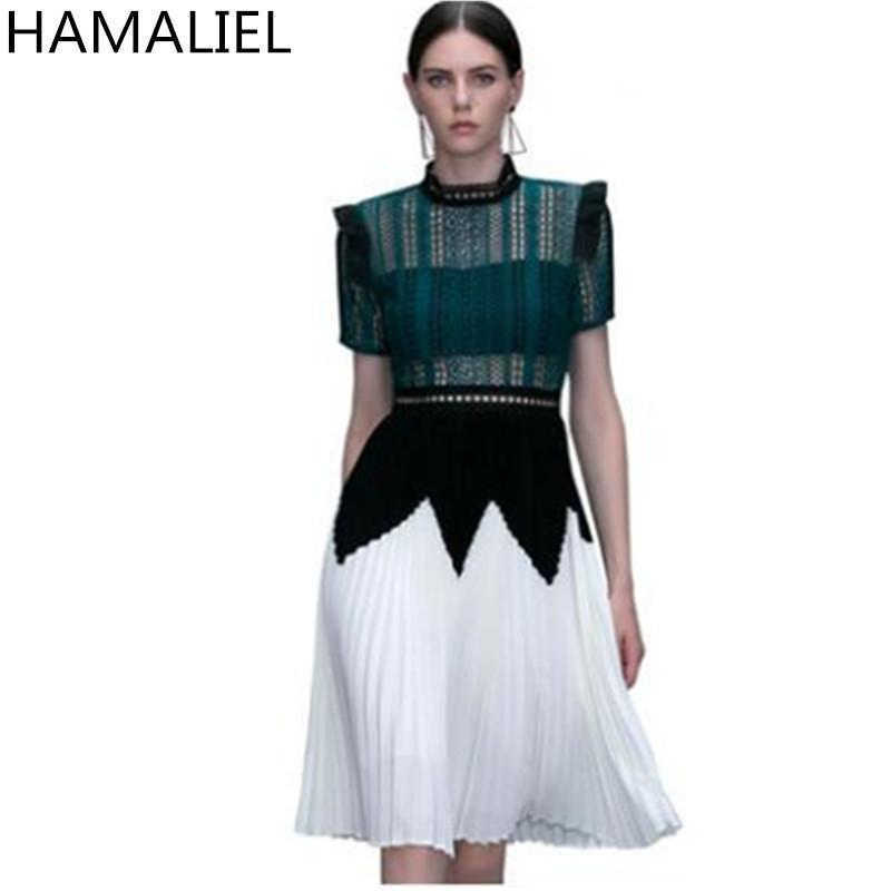 bb84e06e6228 2019 HAMALIEL New Self Portrait Dress 2018 Runway Spring Green Patchwork White  Hollow Out Lace Stand Collar Pleated Party Women Dress C19011501 From ...
