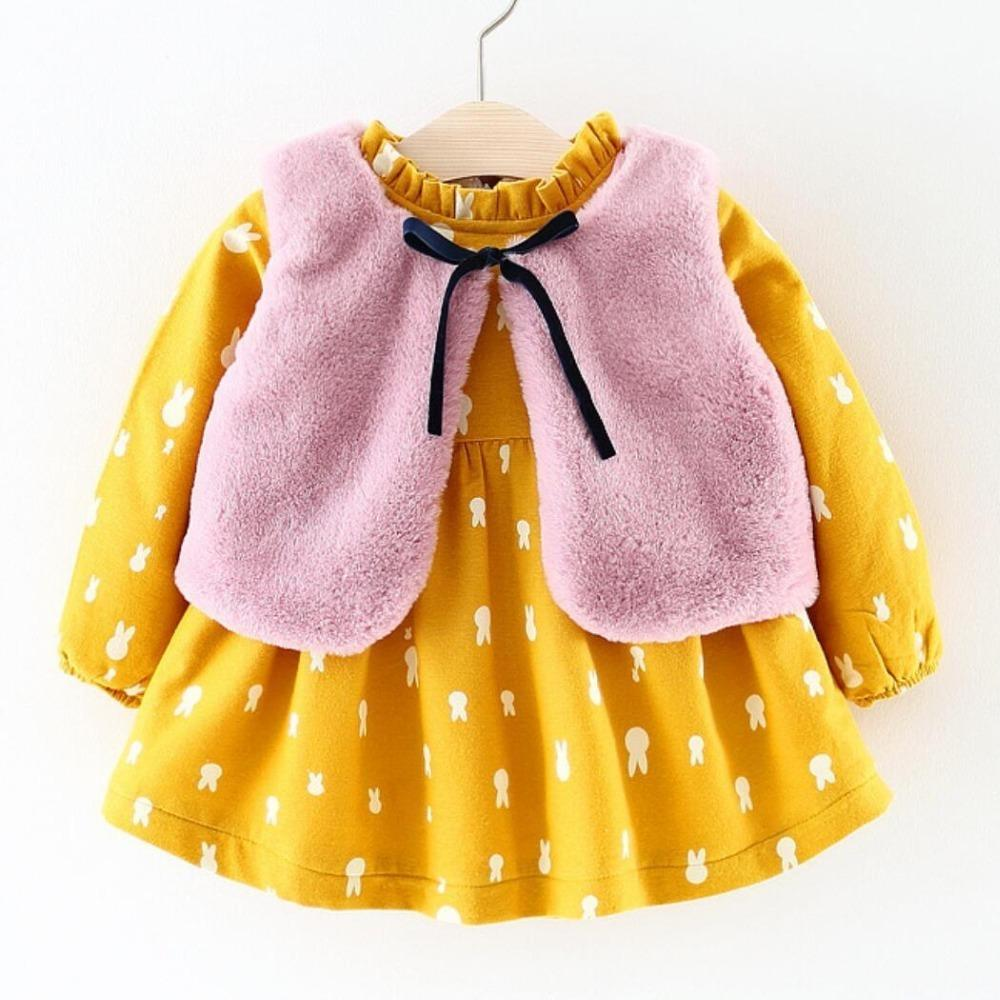 e38e78105 2019 Fall Winter Dress Brand 2019 New Baby Girls Clothes Long Sleeved  Floral Plus Velvet Dress+Fur Vest Suit Girls Clothing Sets From Nextbest09