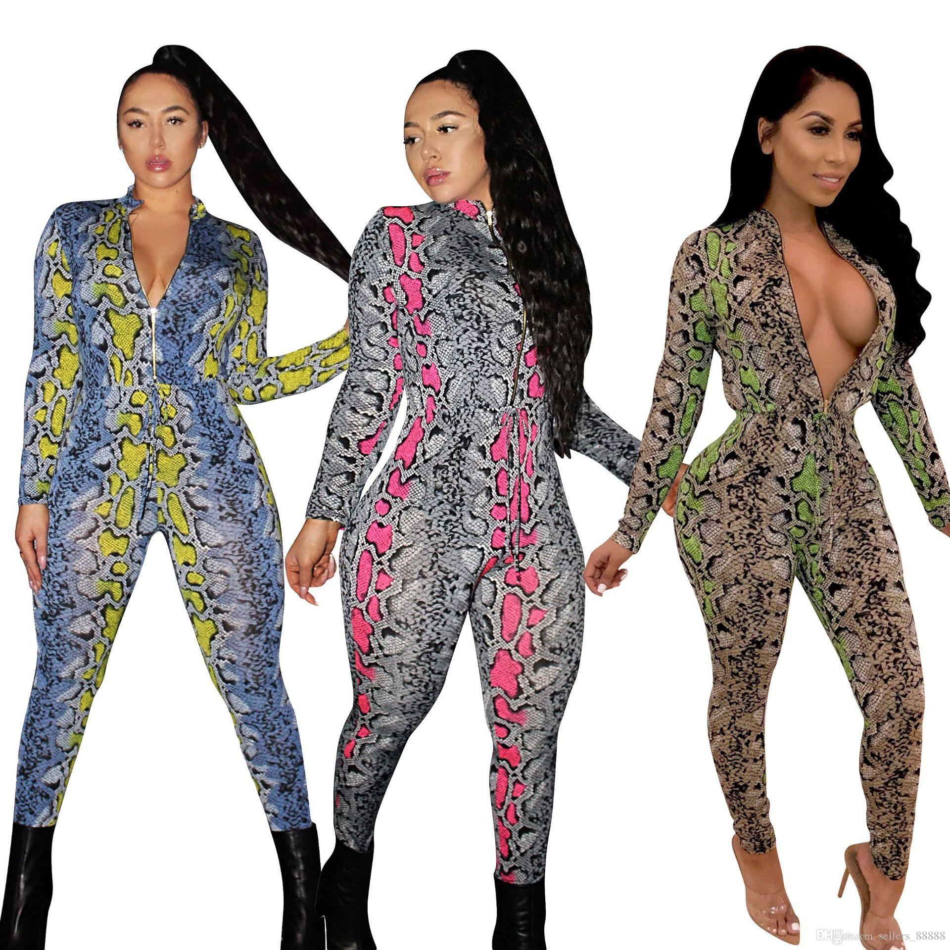 3840af3265ad 2019 Front Zipper Sexy Snakeskin Print Jumpsuit Women Deep V Neck Long  Sleeve Body Con Catsuit Autumn Novelty Party Overall From Sellers 88888