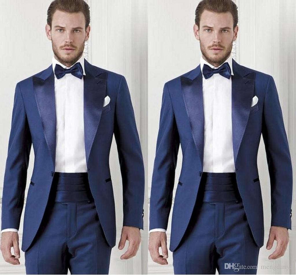 6f9b78707f 2019 Handsome Dark Blue Groom Custom Made Slim Fit Groomsmen Men Wedding  Suits Prom Formal Occasion Tuxedos ( Jacket+Pants+Bow Tie+Girdle)77