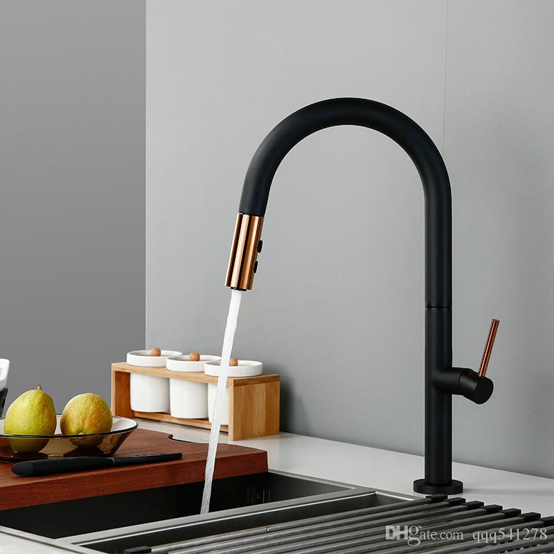 Pull Out Rotation Spray Mixer Kitchen Faucet Matte Black Cold And Hot Water Single Handle Brass Kitchen Sink Faucet