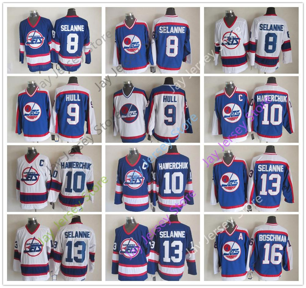 huge selection of 5ec09 3d550 Winnipeg Jets Jersey Ice Hockey CCM Old Time 8 13 Teemu Selanne 9 Bobby  Hull 10 Dale Hawerchuk 16 Laurie Boschman