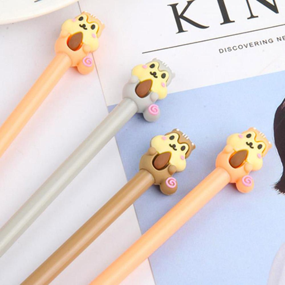 Limit Shows Kawaii Cartoon Animal Squirrel Plastic Gel Pens Kawaii Stationery Black Ink Writing Pens Office School Supplies Gift