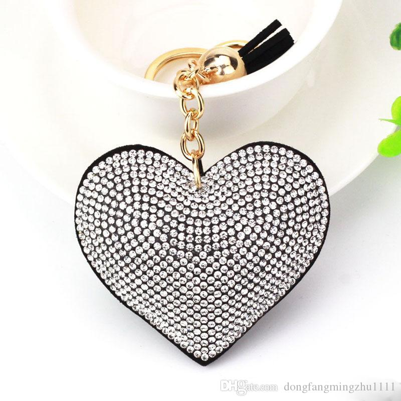 Cute Keychain heart shape drilling leather fashion tassel keychain bag pendant keychain keyring Key Holder
