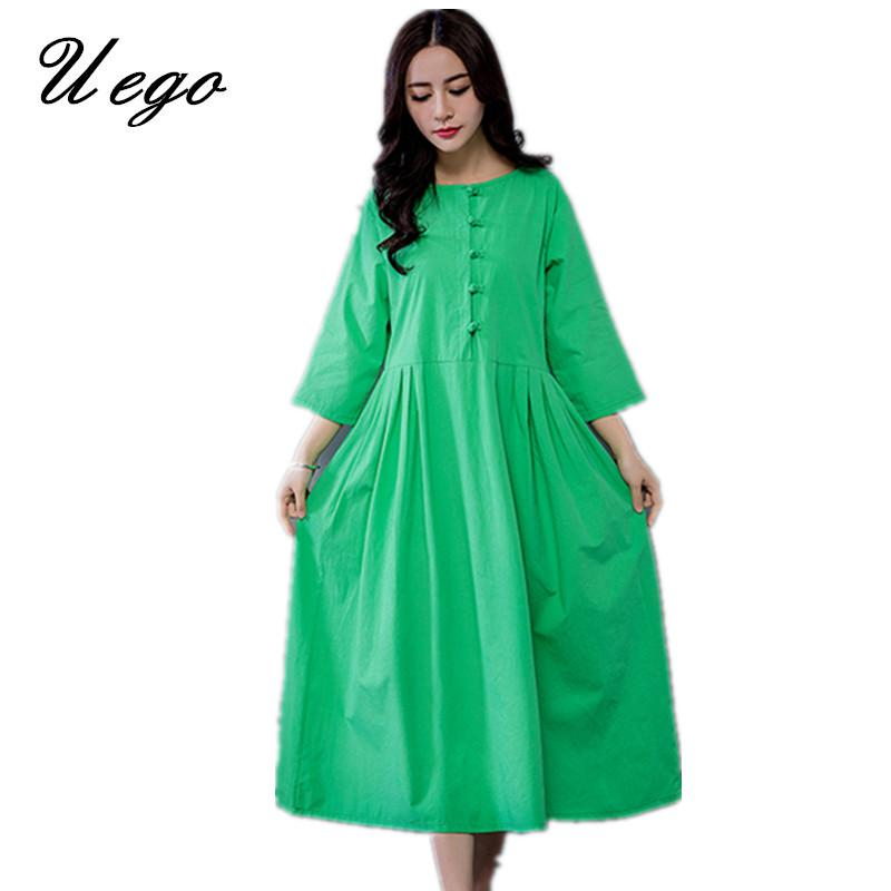 Uego 2019 New Arrival Cotton Linen Spring Summer Dress Plus Size Loose  Chinese Style Vintage Dress Women Casual Midi Party
