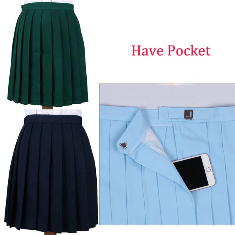cd905b53251 2019 Hot Sales Harajuku Style Women College Solid Color Pleated Skirts  Candy Color Cosplay JK Uniform Lolita Skirt Adjustable Pocket C18122701  From Shen8407 ...