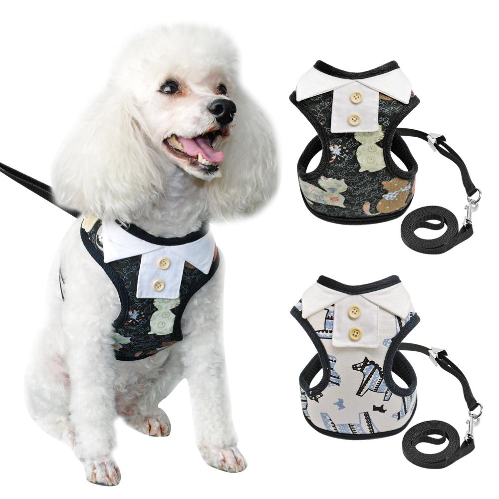 Print Dog Harness Vest and Leash Set Detachable Collar Dog Clothes Breathable Nylon Cat Harness and Leads for Small Dogs Cats