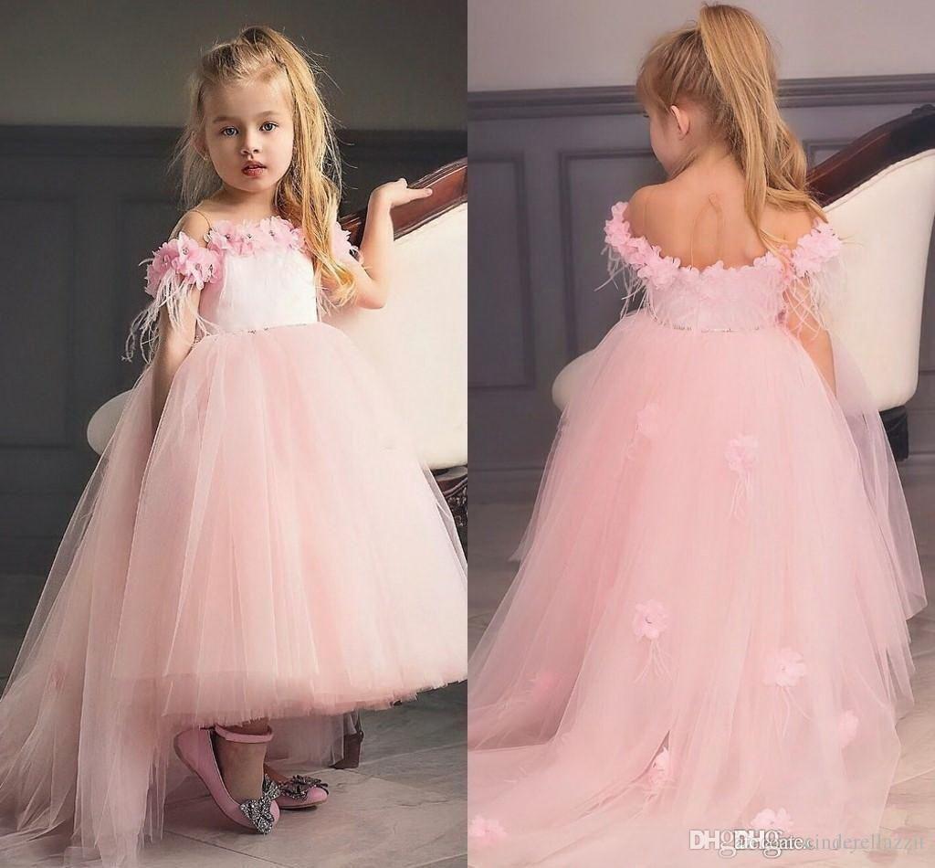 a0dc632b7886 New Cute Hi Lo Blush Pink Girl'S Pageant Dresses Lace Flowers Puffy Ruffles  Organza Skirt Wedding Flower Girls' Ball Gowns Grey Flower Girl Dress  Handmade ...