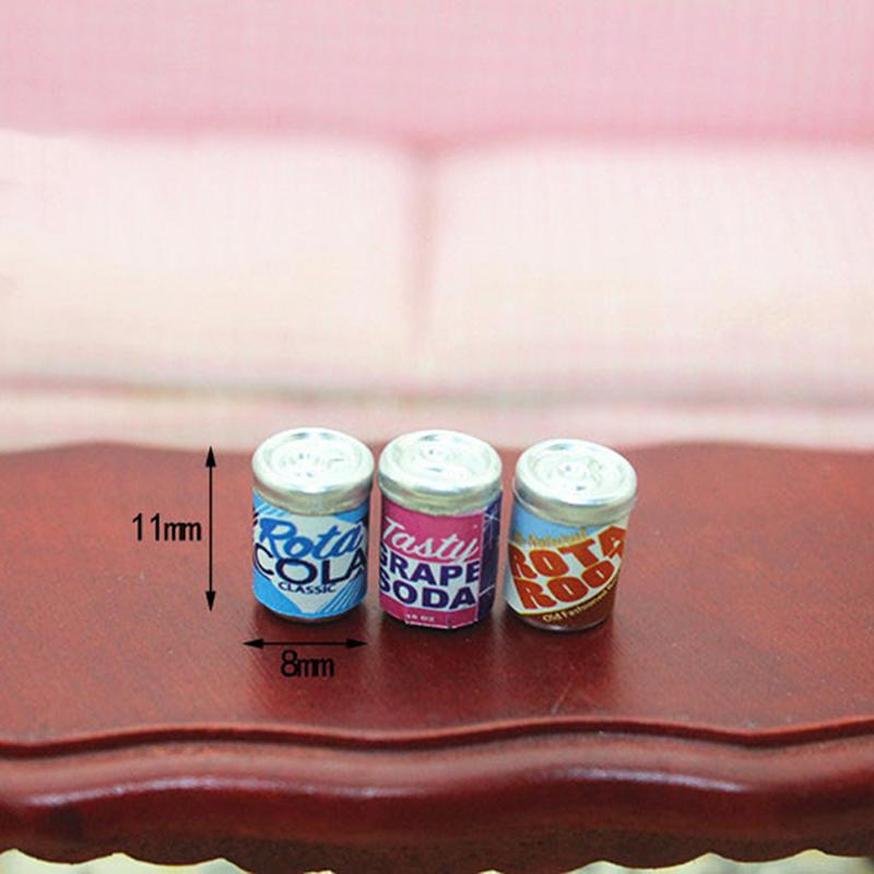 1:12 Cute Mini Cans Miniature Dollhouse Furniture 6* Drink Cans Decorations DIY Doll House Kitchen Accessories