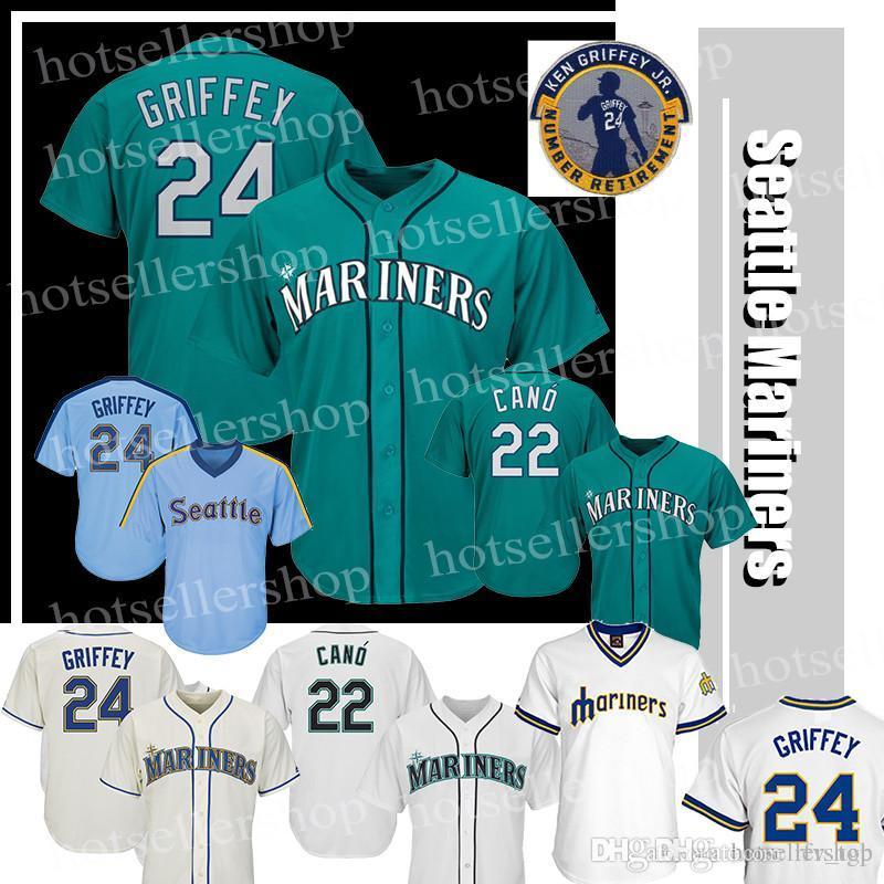online store e76f7 5ead0 ken griffey Seattle Mariners jersey 24 Ken Griffey Jr 22 Robinson Cano 2016  Hall Of Fame Retirement Patch Men Women Green Teal 24 30 White R