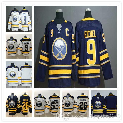finest selection 701c1 c62fd 2019 new Buffalo Sabres 9 Jack Eichel Jersey Hockey 26 Rasmus Dahlin 53  Jeff Skinner balnk Blue White Mens