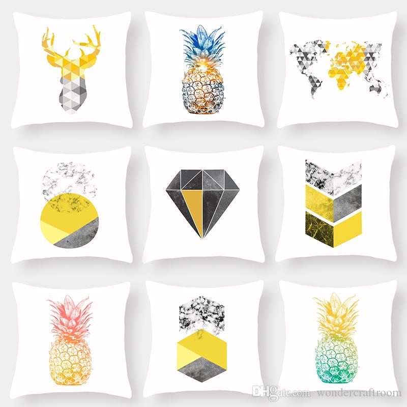 9 Styles Pineapple Deer Head World Map Cushion Covers Nordic Retro Geometric Diamonds Plaids Art Cushion Cover Soft White Pillow Case