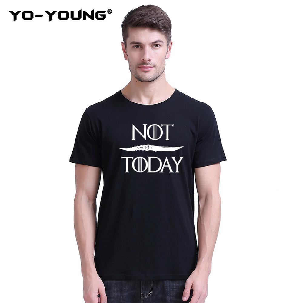 Yo-Young Funny T Shirt Men NOT TODAY T-shirts Arya Stark T-Shirts 100% 180g Combed Cotton Unisex Summer Tee Tops