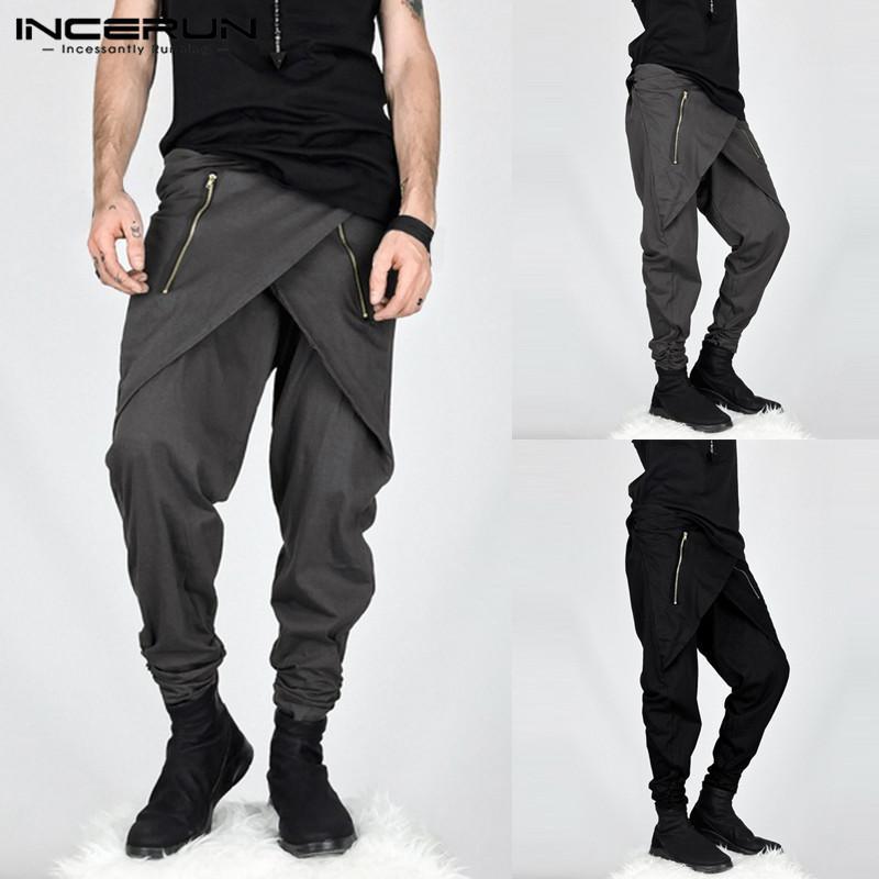Acquista INCERUN Streetwear Uomo Harem Pants Hip Hop Zipper Jogging Pantaloni  Uomo Moda Allentata Pantaloni Casual Irregolari Pantalon Hombre 2019 A   27.02 ... 95fc9dc23242