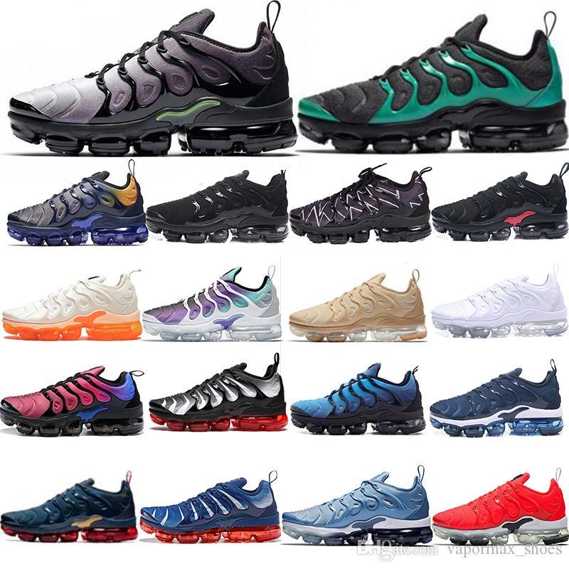 pretty nice 8fc89 fa4b1 Acheter 2019 TN Plus Running New Shoes Orange USA Aubergine Grape Volt  Hyper Olive Entraîneurs Ré Accordés Baskets Sports Homme Femme Designer  Athletic Shoe ...