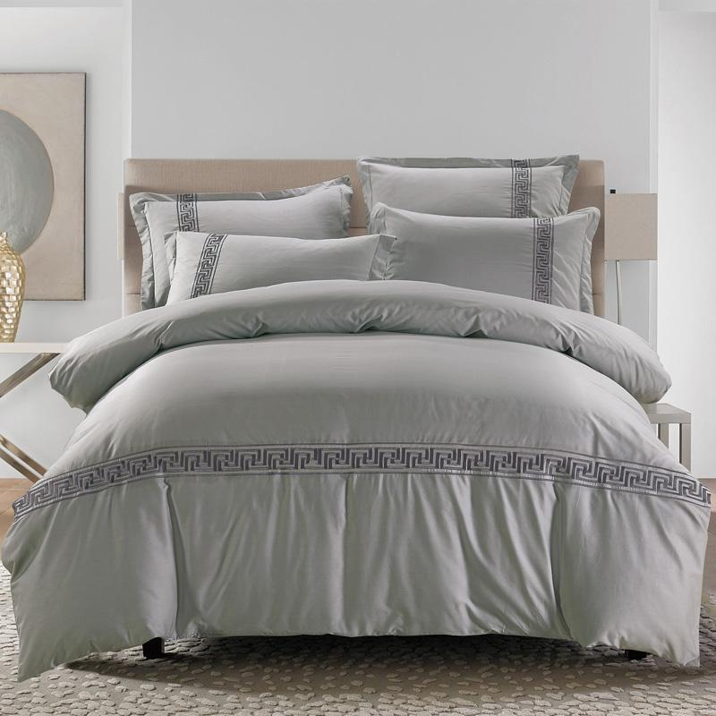 Genial Grey Blue Brown Color 100%Cotton Embroidery Bedding Set Queen King Size Bed  Set Chinese Style Quilt/Duvet Cover Bedsheet Set Egyptian Cotton Duvet  Oversized ...