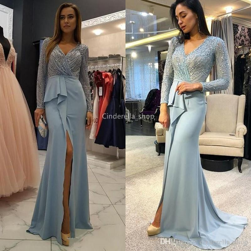 Glitter Light Sky Blue Long Sleeves Evening Dresses V-Neck Sequins Beaded Illusion Formal Prom Party Gowns With Front Slit