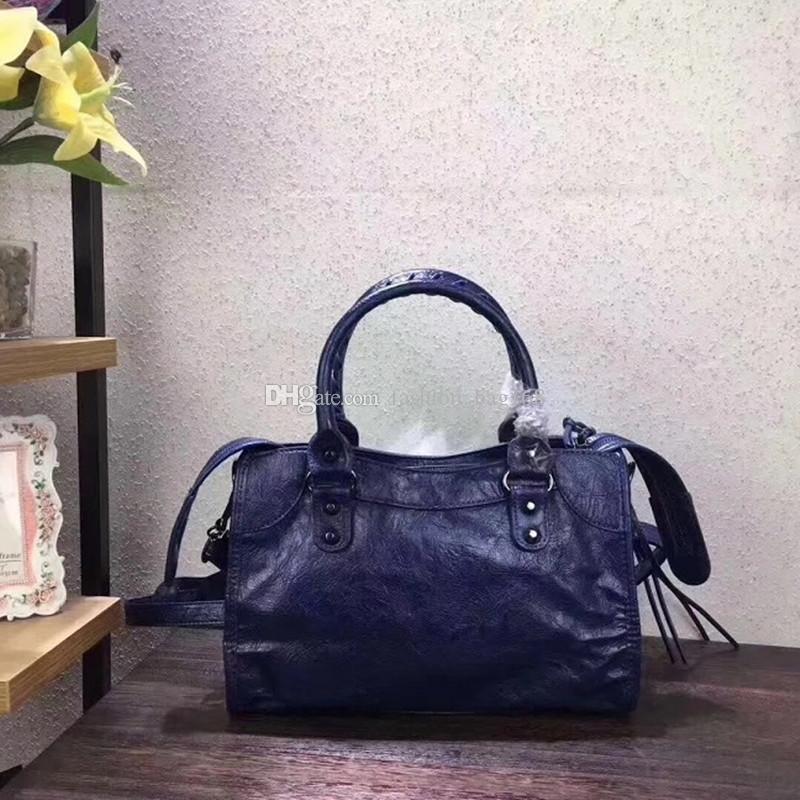 555dac7c92 2018 Lady Motorcycle Bag Mini City Bag Crossbody Bag Studs Rivet Purse Tote  Handbag High Quality Crack Lambskin Leather Designer Handbags Purses On Sale  Men ...