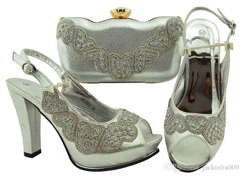 8477ad497ccb8 Hot Sale Silver Women Pumps with Rhinestone Decoration African Shoes Match  Handbag Set for Dress JZC002,heel 11.5CM Women Pumps African Shoes Match Bag  Set ...