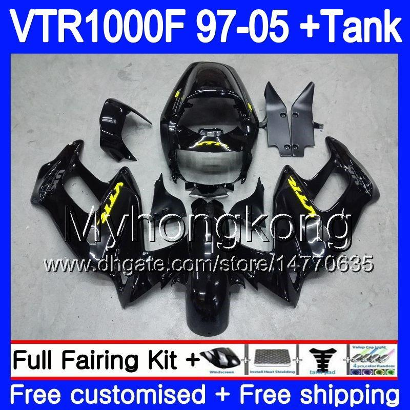 Body For HONDA VTR1000F SuperHawk Factory black 97 98 99 03 04 05 256HM.48 VTR 1000 F 1000F VTR1000 F 1997 1998 1999 2003 2004 2005 Fairing
