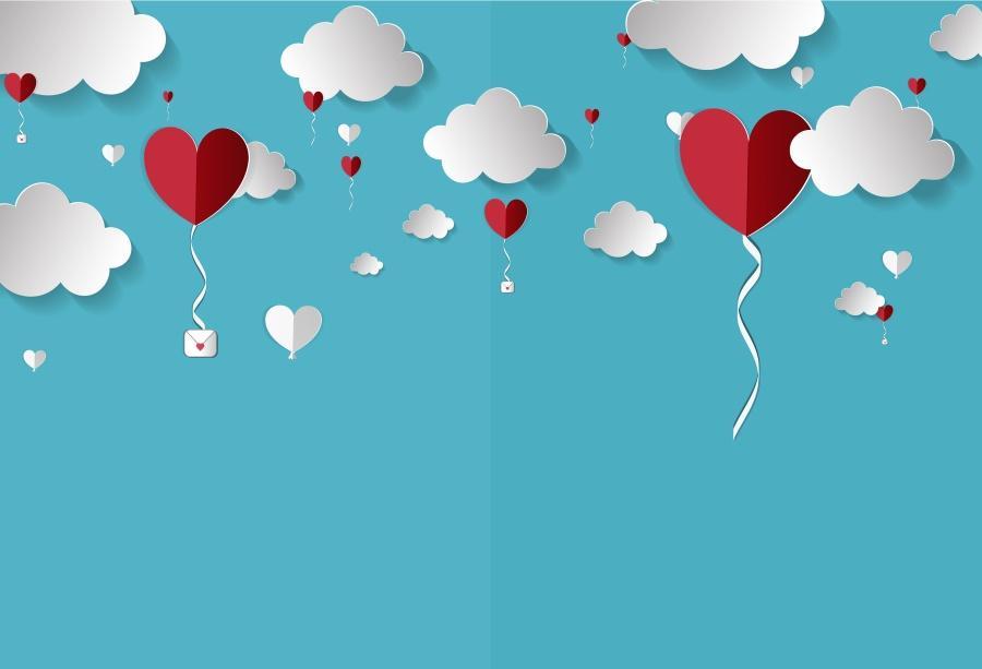 Satın Al Laeacco Bebek Karikatür Kırmızı Aşk Kalp Bulutlu Parti Aşk
