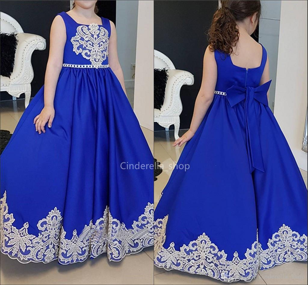 Royal Blue Satin Ball Gowns Flowers Girls Dresses 2019 For Wedding Appliques Zipper Back Bow Kids Birthday Party Dresses Sleeveless Robe
