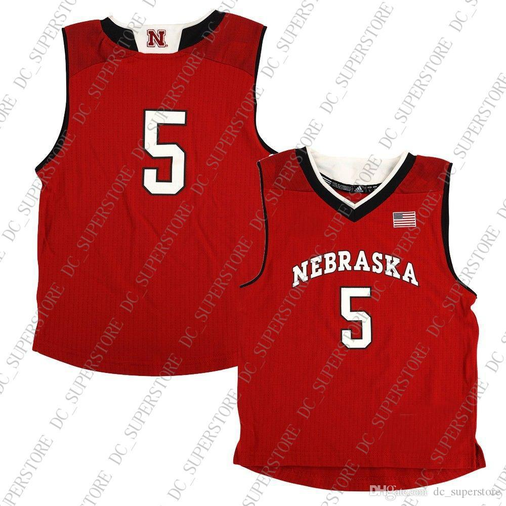 hot sale online e8653 58b57 Cheap Custom Nebraska Cornhuskers NCAA Boys #5 Away Red Basketball Jersey  Personality stitching custom any name number XS-5XL