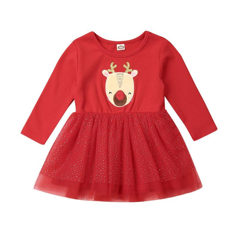Christmas Toddler Infant Baby Girl Dress 1-4Y Xmas Clothes Long Sleeve Deer Print Lace Tutu Dress