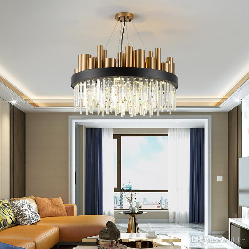 NEW Gold Polished Steel LED Chandelier Living Room Dining Room Crystal Lamp  Luxury Modern Lighting Fixtures Round Luminaria Ship UPS