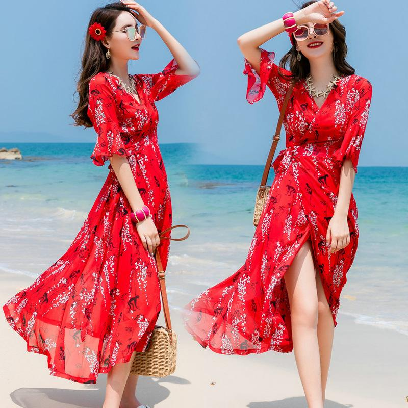 e2b78d4cd75e5 Satın Al Bohemian Elbiseler Bayan Sahil Tatil Plaj Elbiseleri Ile ...