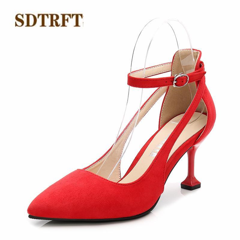 9a9691e7 Compre Zapatos De Vestir De Diseño SDTRFT Moda Stilettos 7 Cm Tacones Finos  Mujer De La Boda Punta Puntiaguda Correa Del Tobillo Hebilla Ahueca Hacia  Fuera ...