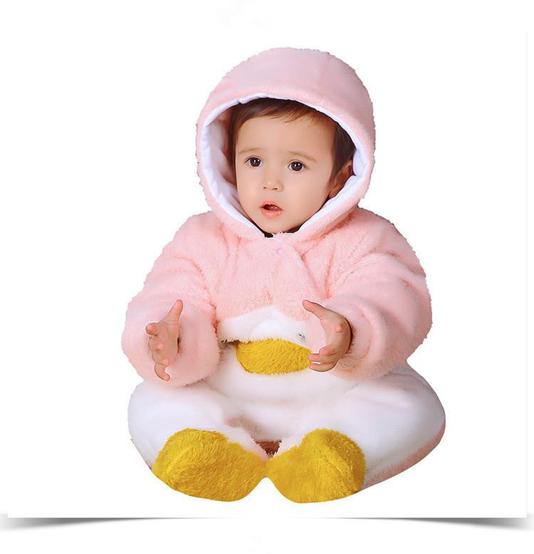 7099edf19681 2019 Good Quality 2019 Winter Newborn Baby Rompers Thicken Warm Cartoon Cute  Panada Rabbit Jumpsuit Flannel Hooded Infant Baby Outfit From Nextbest08