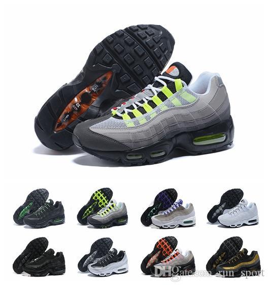 sports shoes c22d1 856a3 Acheter Chaussures 95 OG Cushion Navy Hommes Chaussures De Course Pas Cher  Haute Qualité Air Chaussures 95s Marche Authentique Chaussures De Sport  Taille 12 ...