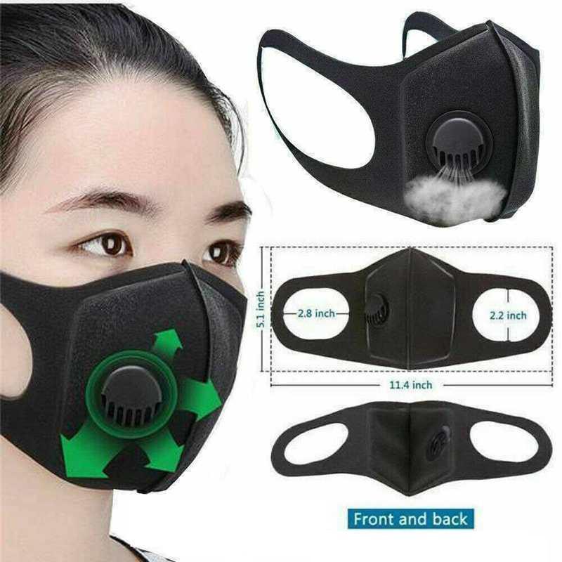 Máscaras esponja reutilizable PM2.5 protectora boca cara Negro con filtros Valor Diseñador correas anchas Mascherine lavable Respirador Máscaras Fy0002