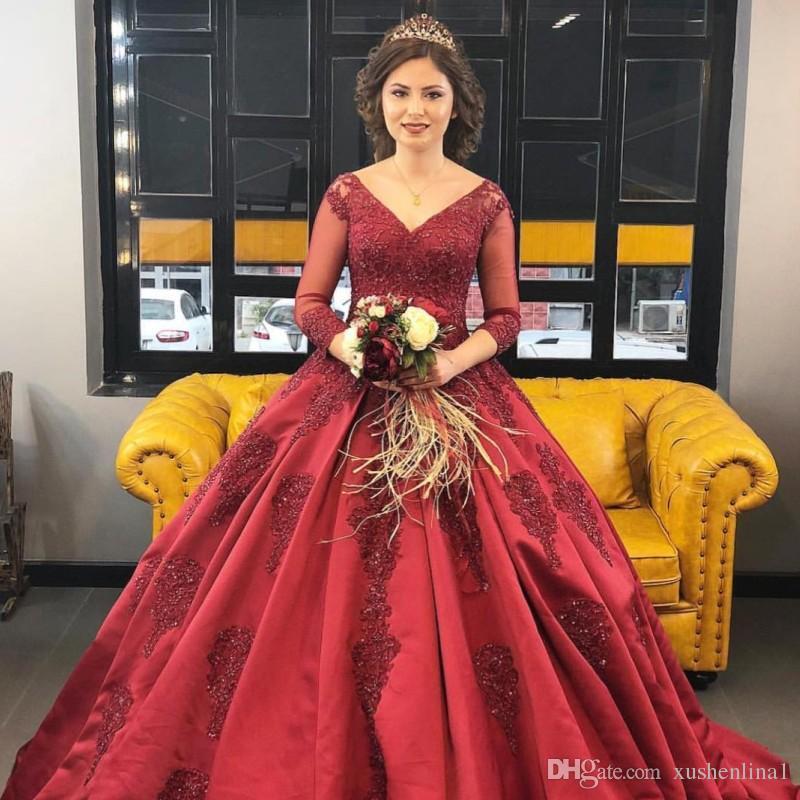 95890320ec2 Elegant Burgundy Appliques Evening Dresses Ball Gown 3/4 Sleeves Bride  Evening Event Ball Gowns Dress High Quality Wine Dark Red Women Dress