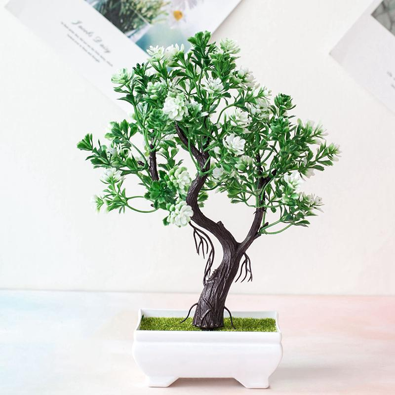 Fake Bonsai Tree Plastic Ornament Artificial Potted Plant For Home Office Decor