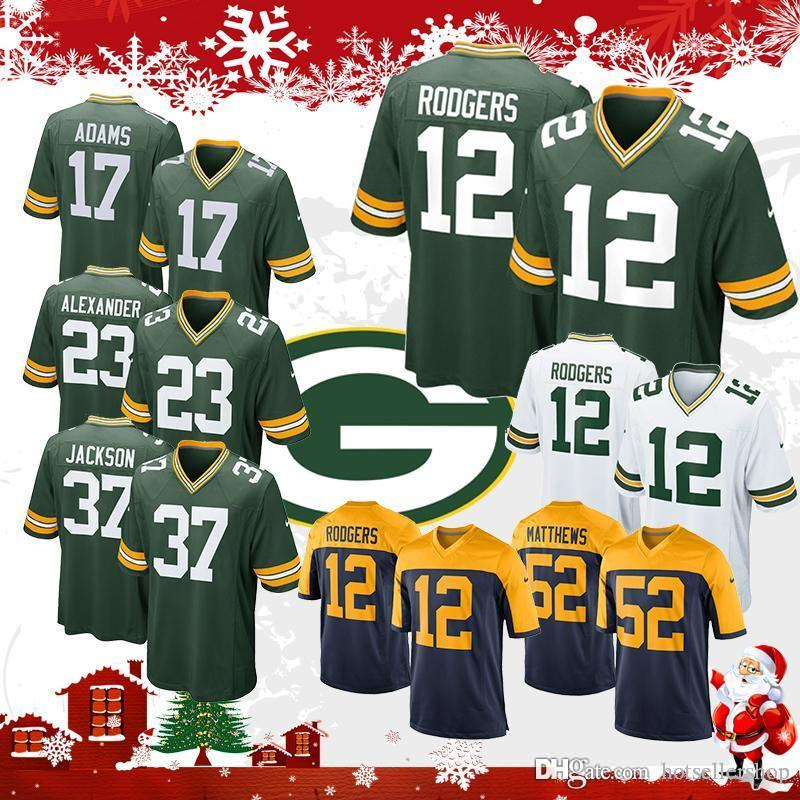 6e75de9763a 2019 Rodgers Green Bays Packer 12 Aaron Football 17 Davante Adams 80 Jimmy  Graham 23 Jaire Alexander 52 Clay Matthews 37 Josh Jackson Top Sales From  ...
