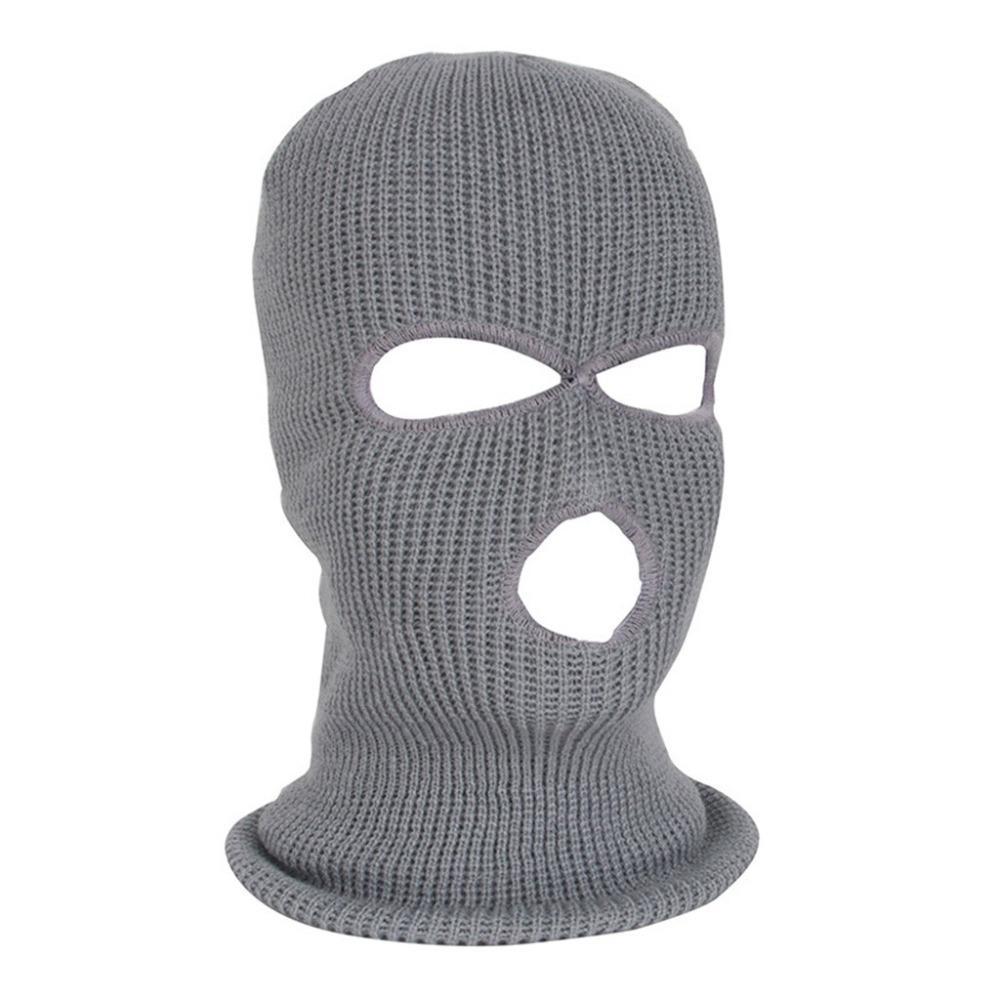 Lovely 3 Hole Black Knit Ski Mask Balaclava Face Shield Hat Cap Winter Warm For Cosplay Men's Skullies & Beanies