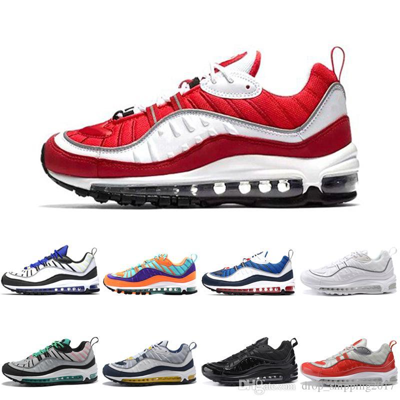 nike air max 98 shoes 2019 Nuevas zapatillas de deporte de diseño zapatillas de deporte rojas blancas amarillas hombres mujeres chaussures