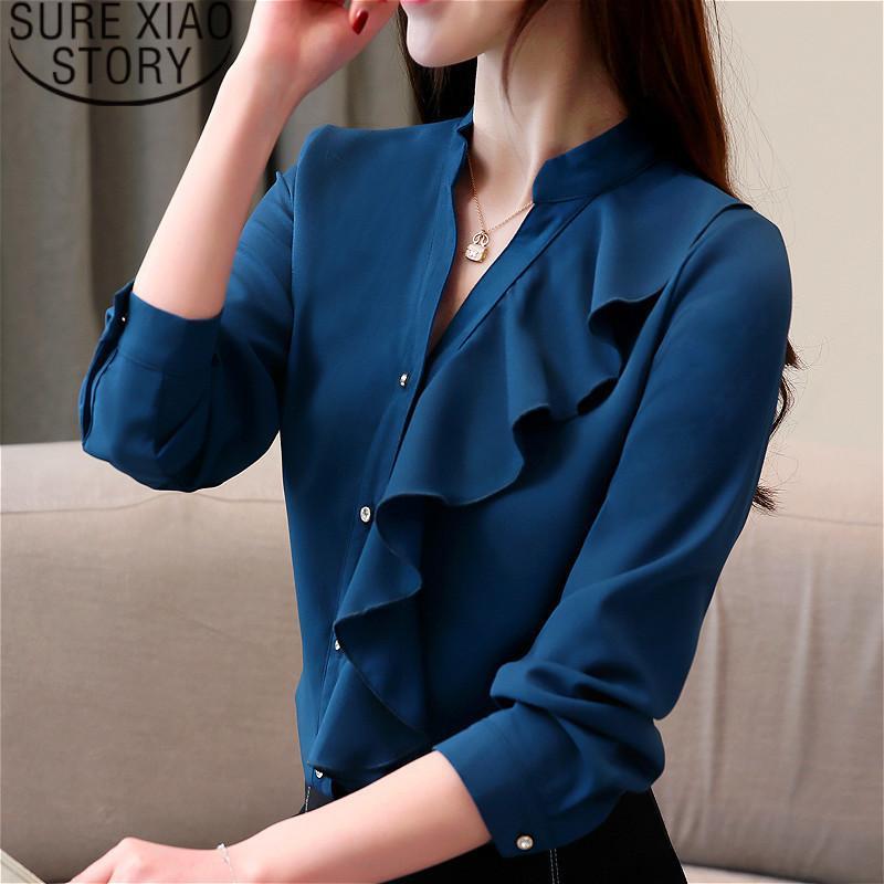 2019 New Womens Tops Blouses Blusas Mujer De Moda Chiffon Blouse Red Shirt Bow Print Harajuku Women Long Sleeve Shirts Women's Clothing