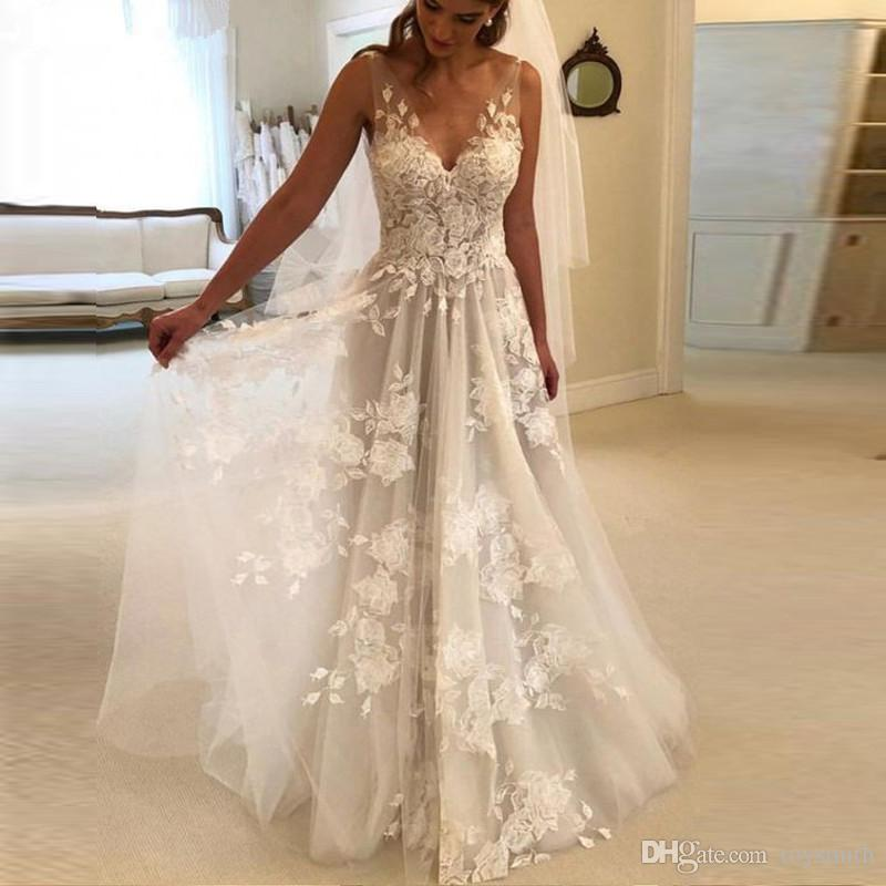 Beautiful Wedding Dresses 2019: Discount Beautiful V Neck Hand Made Princess Wedding Gown