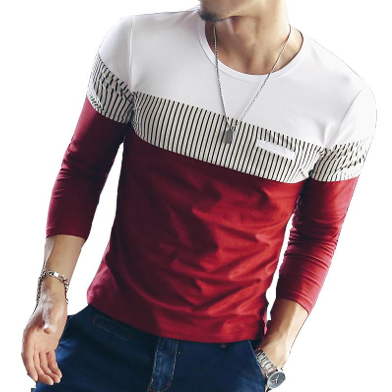 7472041b0595 New Mens T Shirts Autumn Fashion Patchwork T-shirt Men Spell Color ...